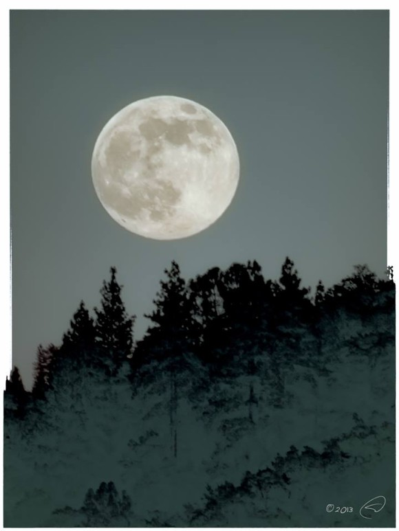 The Perigee Full Moon rising over Oakhurst, CA last night. Photo credit: Steve Montalto