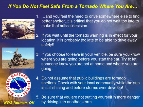 Car safety image created and posted by the Norman, Oklahoma NWS office hours before the severe weather event on May 30, 2013. Image Credit: NWS