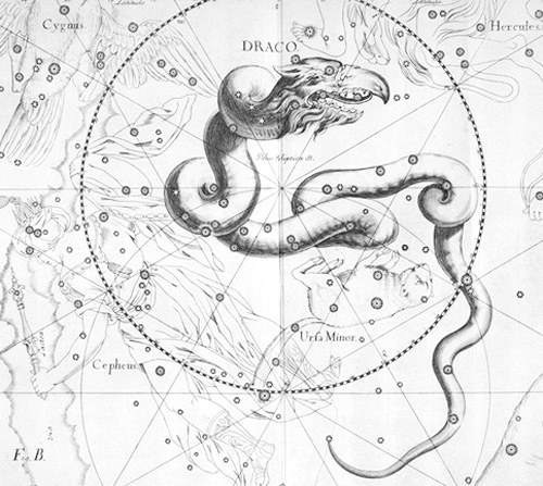 Draco as depicted in an old star altas.  The constellation of the Dragon winds around the sky's north pole.