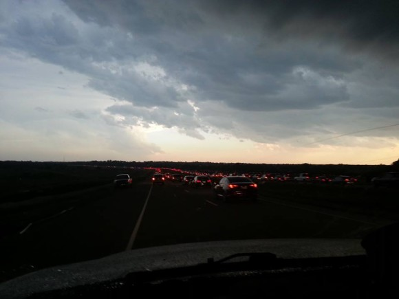 Traffic backing up and trying to travel southbound as the storms were pushing into the area. Image Credit: Dick McGowan