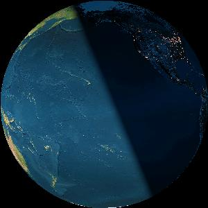 Last quarter Earth as seen from the moon at the precise instant of the first quarter moon (2014 January 8 at 3:39 Universal Time). Image credit: Earth and Moon Viewer