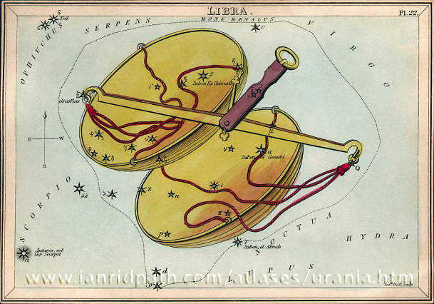 Antique drawing of pan-type scales with stars marked forming the constellation Libra.