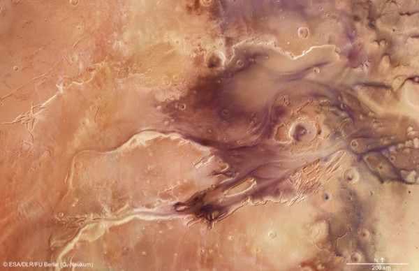Kasei Valles is one of the largest outflow channel systems on Mars. From source to sink, it extends some 3,000 kilometers (2,000 miles) and descends by 3 kilometers (2 miles) in altitude.