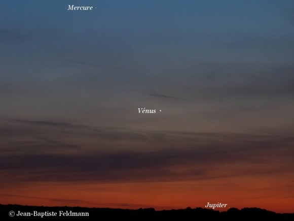 Here are Mercury, Venus and Jupiter as seen on June 1, 2012 from our friend Jean Baptiste Feldmann in France.  He wrote,