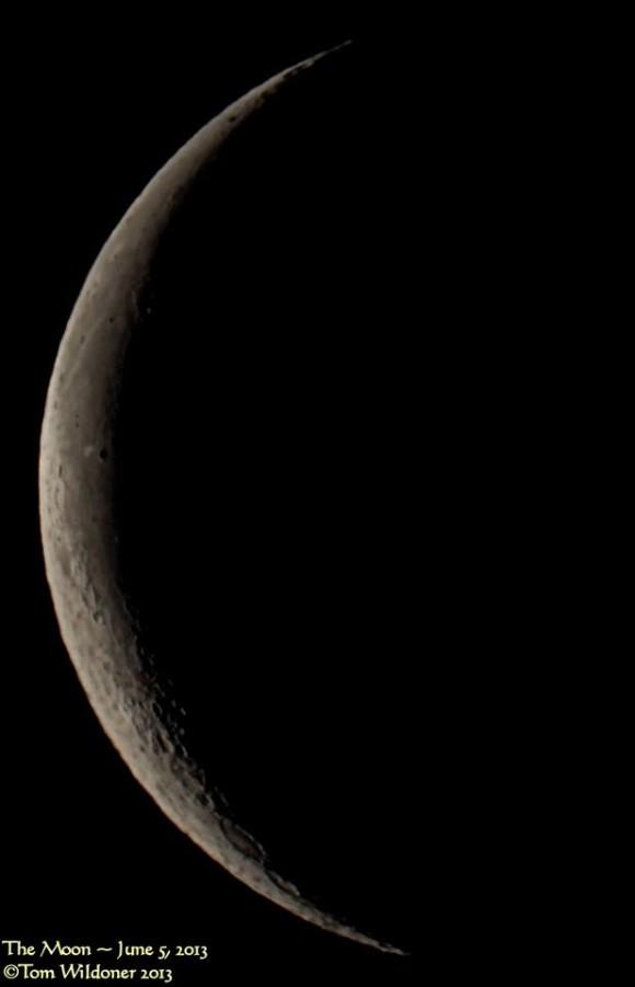 Waning crescent moon on June 5, 2013 via EarthSky Facebook friend Tom Wildoner. Thanks, Tom!