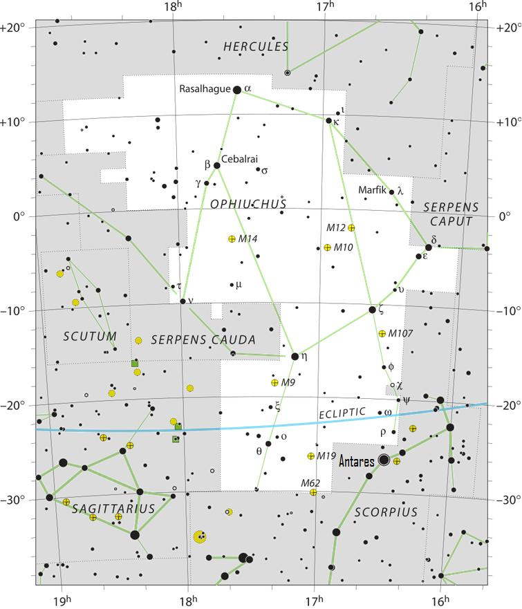 Star chart with black stars on white showing constellation Ophiuchus.