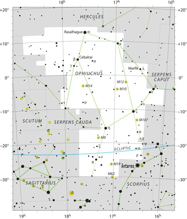 Chart of constellation Ophiuchis with stars in black on white.