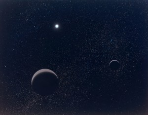 Artist's conception of the dwarf planet Pluto and its largest moon, Charon. Image credit: Lunar and Planetary institute