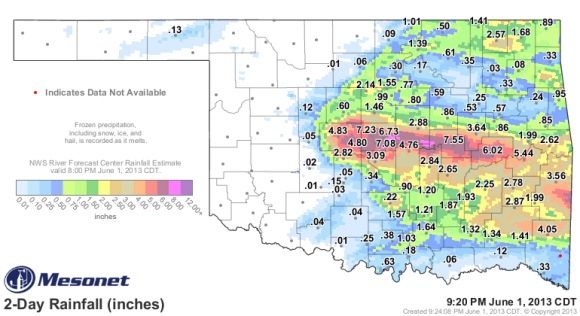 48 hour rainfall totals from May 30, 2013 through June 1, 2013. Image Credit: Mesonet