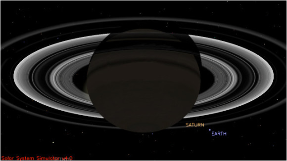 This simulated view from NASA's Cassini spacecraft shows the expected positions of Saturn and Earth on July 19, 2013, around the time Cassini will take Earth's picture. Cassini will be about 898 million miles (1.44 billion kilometers) away from Earth at the time. That distance is nearly 10 times the distance from the sun to Earth. Image credit: NASA/JPL-Caltech