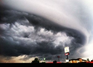 Shelf cloud on June 11, 2012 via Mike Wilhelm.