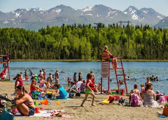 The record-breaking heat in Alaska began last week and continued through this week.  Photo via the Alaska Dispatch.  See more photos of Alaska's heatwave here.