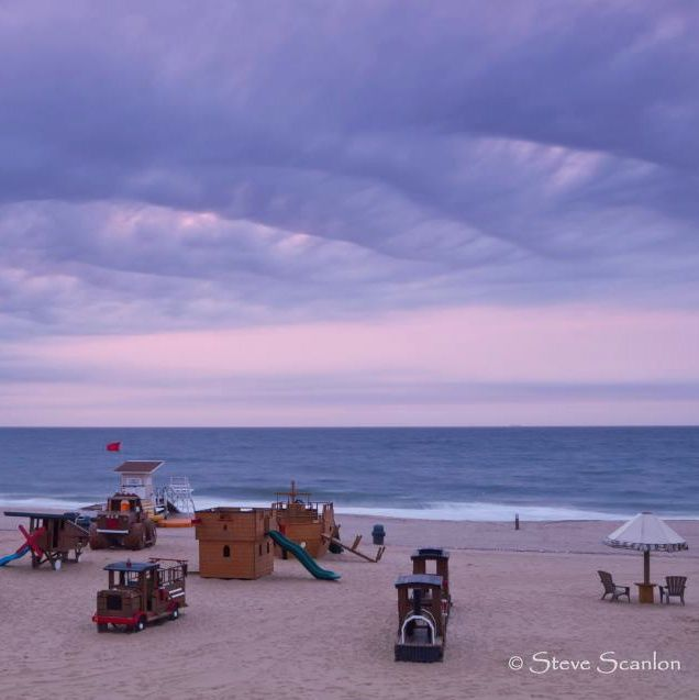 Early sunrise on a New Jersey beach, June 10, 2012.  This great image from EarthSky Facebook friend Steve Scanlon Photography.  It's the Sands Beach Club in Sea Bright, New Jersey.