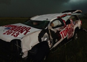Damage to Weather Channel Tornado Hunt car May 31