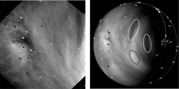 Examples of cloud features identified in Venus Express images and used to monitor wind speeds. Long-term studies based on tracking the motions of several hundred thousand cloud features, indicated here with arrows and ovals, reveal that the average wind speeds on Venus have increased from roughly 300 km/h to 400 km/h over the first six years of the mission. Image via ESA.