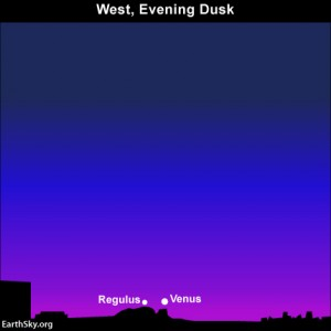 Look for the planet Jupiter and the star Regulus as dusk ebbs into darkness. You may need binoculars to spot Regulus. Click here for a sky almanac