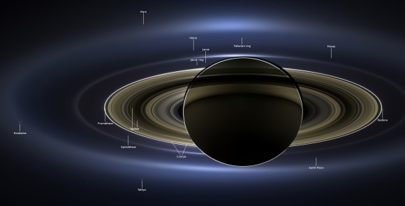 View larger. | Annotated image of Saturn and the view from Saturn, taken by Cassini spacecraft on July 19, 2013.