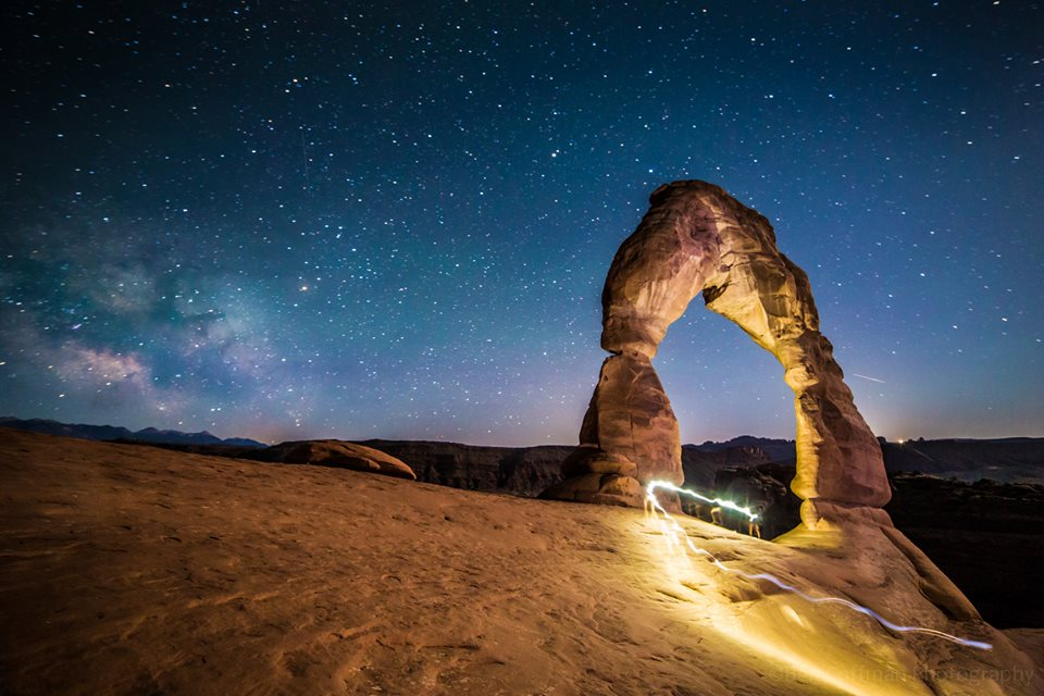 View larger. | Hi, EarthSky, here's a photo of Delicate Arch (Arches National Park), as illuminated by