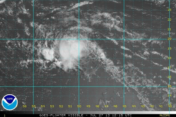 Visible satellite image of Tropical Storm Dorian on July 27, 2013. Image Credit: National Hurricane Center