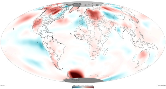 Global temperatures for June 2013. Blue indicates temperatures below average. Red indicates temperatures above average. Image Credit: NOAA Climate.gov team
