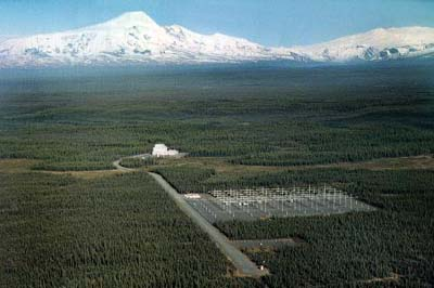 Aerial view of HAARP facility in Alaska, via Wikimedia Commons.