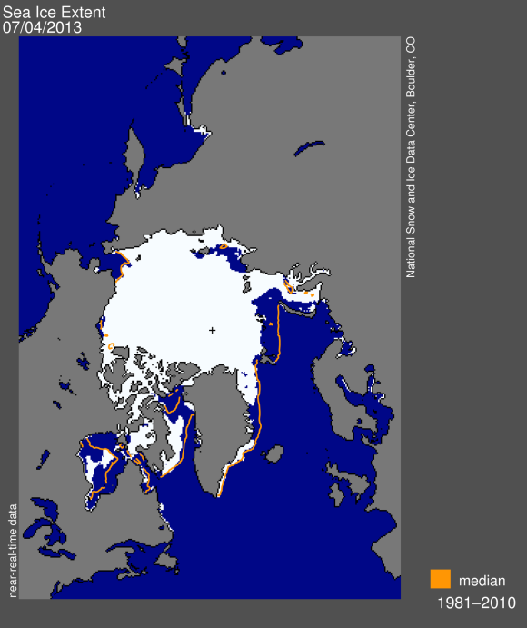 Sea ice extent across the Arctic as of July 4, 2013. Image Credit: http://nsidc.org/