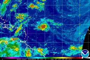 Rainbow image of Tropical Storm Dorian