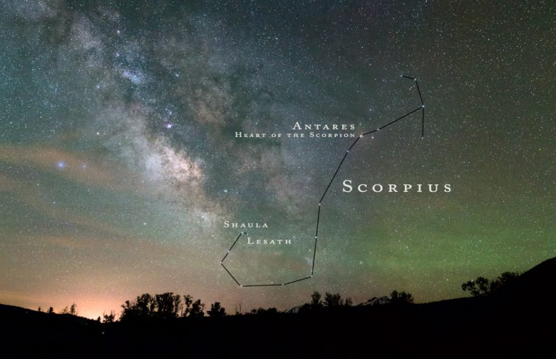 Night sky, Milky Way, labeled stars of Scorpius with lines drawn between them.