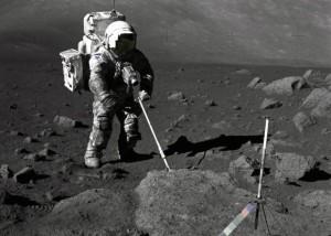 Harrison Schmidt on the moon in 1972, via NASA