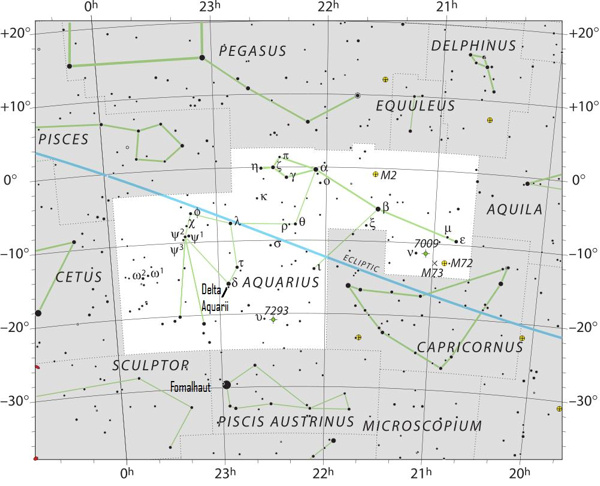 The constellation Aquarius the Water Bearer. Click here for a larger chart