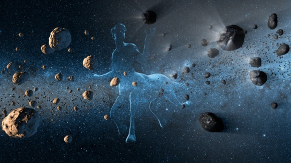 This artist's concept shows a centaur creature together with asteroids on the left and comets at right. Image credit: Credit: NASA/JPL-Caltech