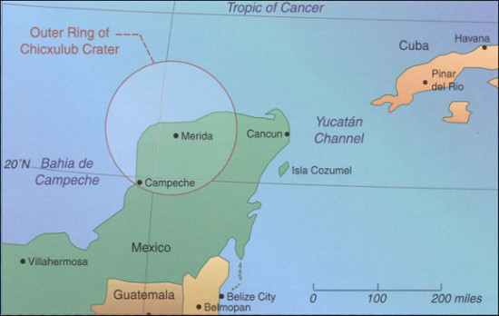 Chicxulub Crater location via OneUniverse.