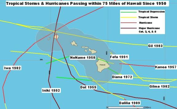 Tropical cyclones that have passed near or through the Hawaiian islands. Image Credit: NOAA