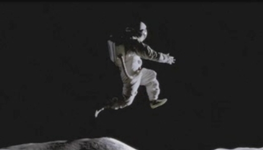 "This isn't a real photo.  It's from a television commercial for Nike footwear, called ""Moon Jump.""  The idea of zero gravity on the moon is ... well ... equally imaginary.  Read more about this image here."