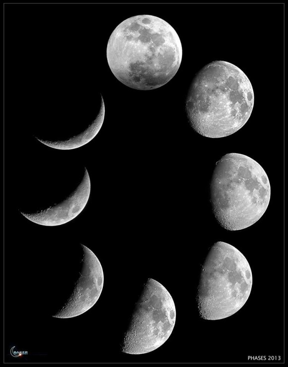 A composite of various moon phases by EarthSky Facebook friend Jacob Baker. He wrote: