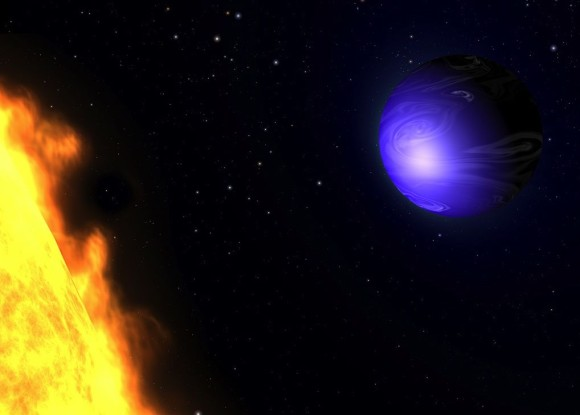 Artist's concept of planet HD 189733.  Its cobalt blue color is thought to be caused by fierce, hot winds that send