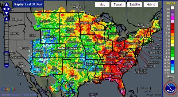 Rainfall totals over the past 30 days across the United States. You can easily see the great divide in precipitation. Image Credit: NOAA
