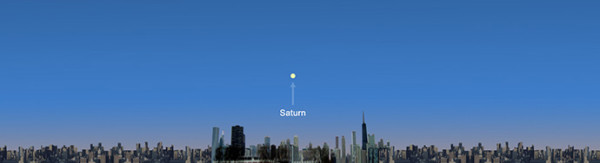 From Chicago, Saturn will be low on the eastern horizon from 4:27 to 4:42 p.m. CDT on July 19, 2013. Saturn's approximate location is shown, but it will not be not visible in the daylight.