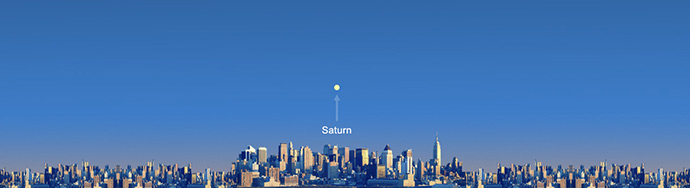 From New York City, Saturn will be low on the eastern horizon from 5:27 to 5:42 p.m. EDT on July 19, 2013. Saturn's approximate location is shown, but it will not be not visible in the daylight.  Image via NASA.