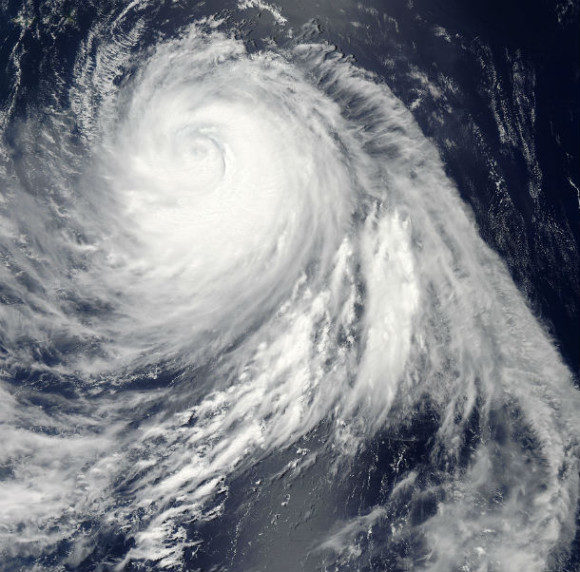 MODIS Aqua satellite flew over Typhoon Soulik in the western Pacific Ocean on July 11 at 04:20 UTC and saw that the system is undergoing eyewall replacement. Image via NASA Goddard/ MODIS Rapid Response Team.