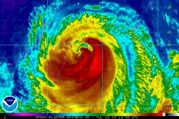 Typhoon Soulik approaching Taiwan on July 12, 2013. Image Credit: NOAA/NHC
