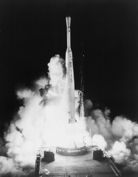 A Thor/Delta 316 launches with the Telstar 1 satellite from Cape Canaveral on July 10, 1962.  Image via NASA