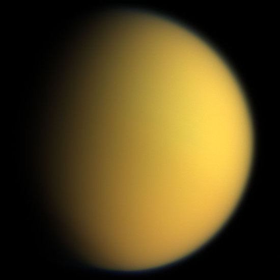 This natural color composite was taken during the Cassini spacecraft's April 16, 2005, flyby of Titan. It is a combination of images taken through three filters that are sensitive to red, green and violet light.  It shows approximately what Titan would look like to the human eye: a hazy orange globe surrounded by a tenuous, bluish haze.