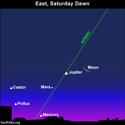 moon and three planets greet the early riser on Saturday, August 3
