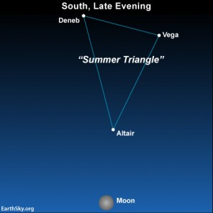 The waxing gibbous moon probably won't wipe out the three bright stars that make up the Summer Triangle on this moonlit night