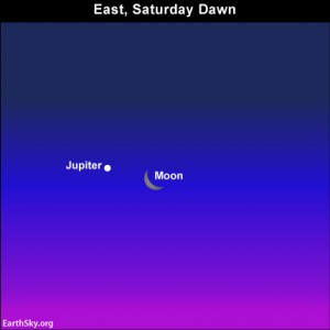 The waning crescent moon and the dazzling planet Jupiter pair up before sunrise on Saturday, August 31.