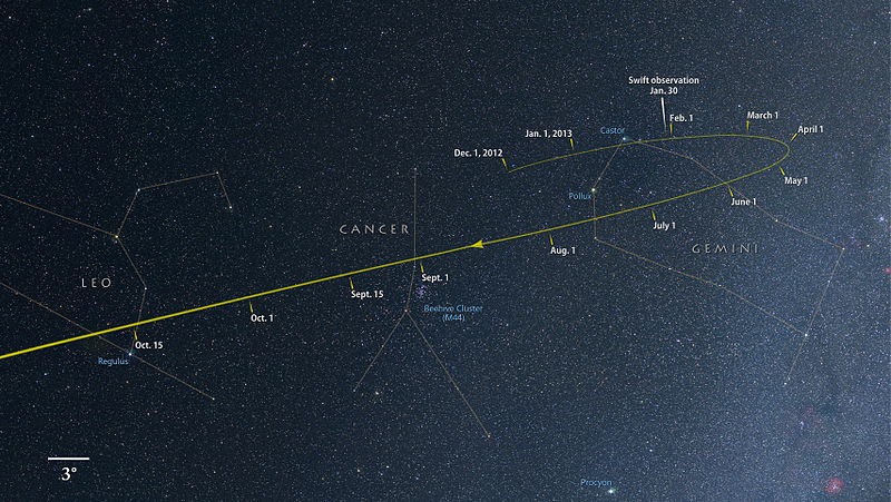 View larger. | Comet ISON from its discovery in December 2012 through October 2013.