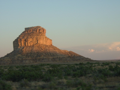 Here is Fajada Butte - same butte as in the night photo above - during the day.  It stands at the entrance to Chaco Canyon in the northwestern New Mexico.  Image via Wikimedia Commons.