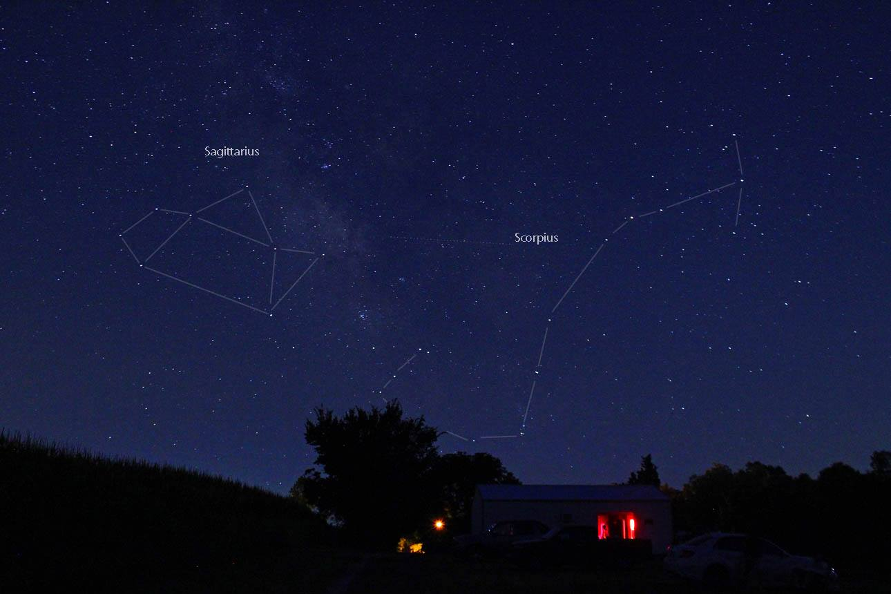 View larger. |  Beautiful shot of the constellations Sagittarius (l) and Scorpius as you'll see them every August, in the south as viewed from Earth's Northern Hemisphere.  EarthSky Facebook friend Duke Marsh took this photo in August 2013.  Thank you, Duke.