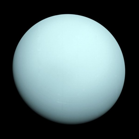 Voyager 2 is still the only spacecraft to have visited the outer planets Uranus and Neptune.  Here is Uranus as seen by Voyager 2 in 1986.  To the spacecraft, the planet appeared as a featureless blue ball.  Image via NASA